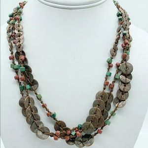 Coldwater Creek Bronze Circle Beads Red Green